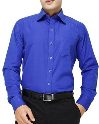 shivam Garments Men's Solid Formal, Party, Wedding, Festive Reversible Blue Shirt