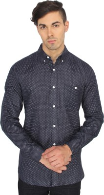 French Connection Men's Printed Casual Blue Shirt