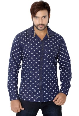 RED TOUCH Men's Printed Casual Dark Blue Shirt