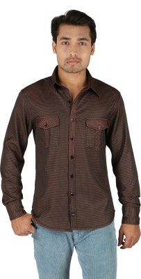TomBerry Men's Self Design Casual Brown Shirt