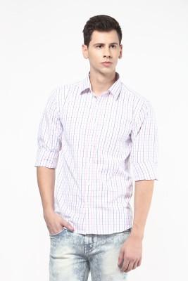 Remo Men's Checkered Formal White, Pink Shirt