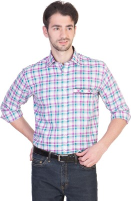Menmark Men,s Checkered Formal White, Pink, Green Shirt