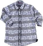 MCKY Girls Printed Casual Blue Shirt