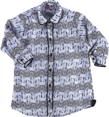 MCKY Girl's Printed Casual Blue Shirt