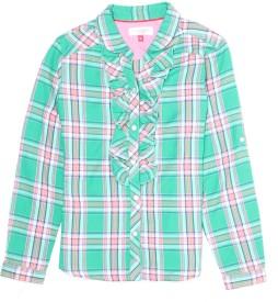 U S Polo Kids Girls Checkered Casual Green Shirt