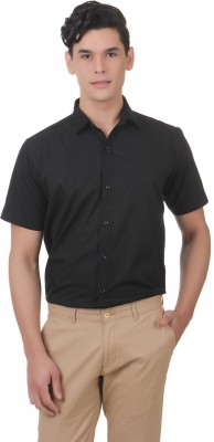 You Forever Men's Solid Casual Black Shirt