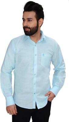 Big Brother Men's Solid Formal Linen Blue Shirt