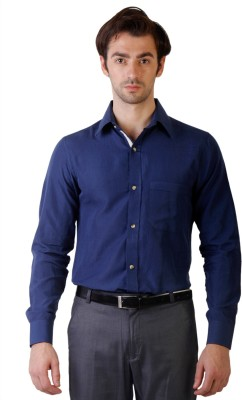 Ebry Men's Solid Casual Reversible Dark Blue Shirt