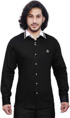 Dave Men's Solid Casual Black, White Shirt