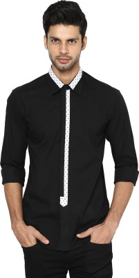 See Designs Men's Solid Casual Black, White Shirt