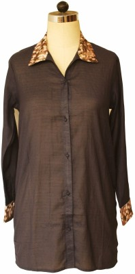 Bring Home Stories Women's Solid Formal Brown Shirt