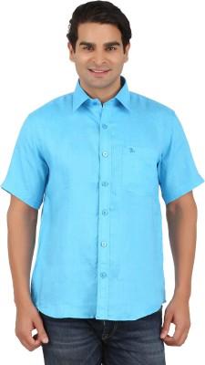 GM Men's Solid Formal Linen Light Blue Shirt