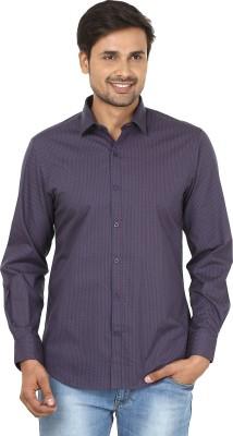 John Players Men's Printed Formal Purple, Orange Shirt