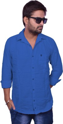 Nation Polo Club Men's Solid Casual Dark Blue Shirt