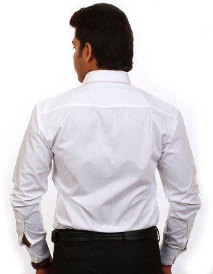 Iconic Men's Striped Formal White Shirt
