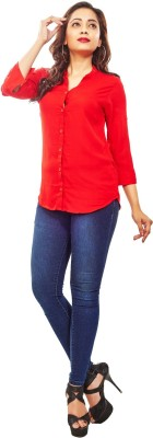 Reinvent Women's Self Design Casual Red Shirt