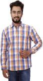 Gustrow Men's Checkered Casual Orange Sh...