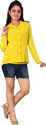 Kamakshi Krafts Women's Solid Casual Yellow Shirt