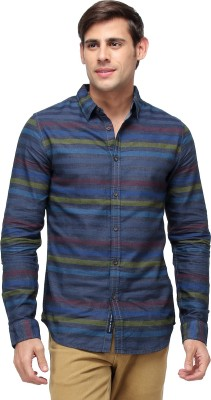 Blue Saint Men's Striped Casual Blue Shirt