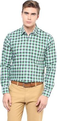 The Vanca Men's Checkered Formal Green Shirt