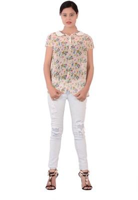 Fashnopolism Women's Floral Print Casual White Shirt