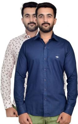 VAPE Men's Solid, Printed Casual White, Blue Shirt