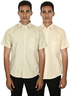 Venga Men's Solid Casual Green, Beige Shirt