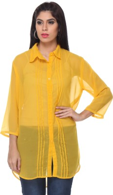 Lavennder Women's Solid Casual Yellow Shirt