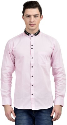 Future Plus Men's Self Design Party Pink Shirt