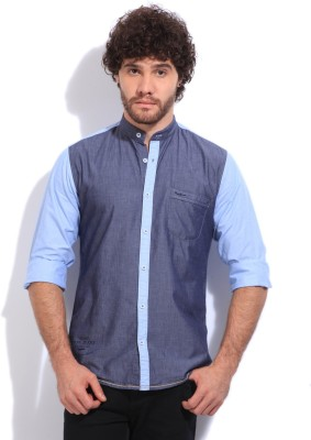 Pepe Jeans Men's Solid Casual Grey, Blue Shirt