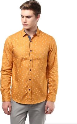 Atorse Men's Printed Casual Orange Shirt