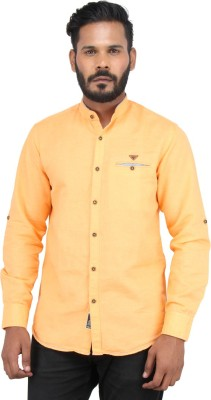 Piazza Italya Men's Solid Casual Orange Shirt