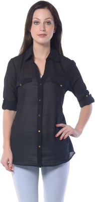 Florrie Fusion Women's Solid Casual Black Shirt
