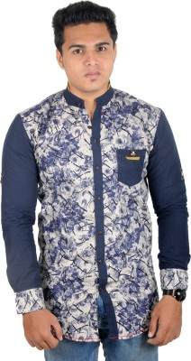 Yomaa Men's Printed Casual Blue Shirt