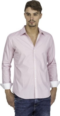 Mayank Modi Men's Printed Casual Pink Shirt