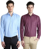 Ave Formal Shirts (Men's) - Ave Men's Solid Formal Maroon, Light Blue Shirt(Pack of 2)