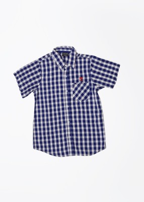 Cherokee Kids Boy's Checkered Casual White, Blue Shirt