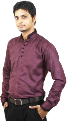 SIERA Men's Solid Casual Linen Purple Shirt