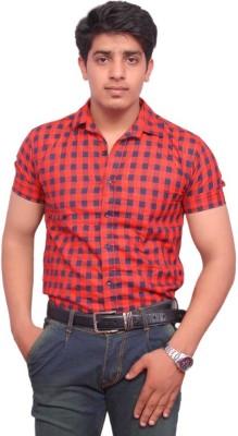 Rose Wear Men's Checkered Formal Orange Shirt