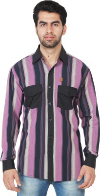Swiss Culture Men's Striped Casual Pink, Black Shirt