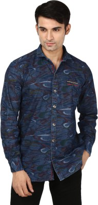 Flakes Fashion Men's Printed Casual Denim Dark Blue, Maroon Shirt
