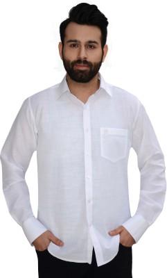 Big Brother Men's Solid Formal Linen White Shirt