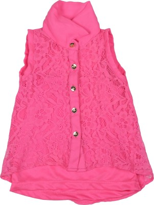 Addyvero Girl's Self Design Casual Pink Shirt