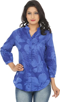 Adhaans Women,s Floral Print Casual Blue Shirt