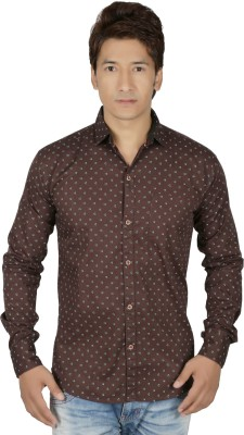 RED TOUCH Men's Printed Casual Brown Shirt