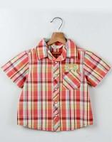 Beebay Boys Checkered Casual Red Shirt