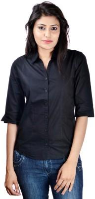 Shop Avenue Women's Solid Casual Black Shirt