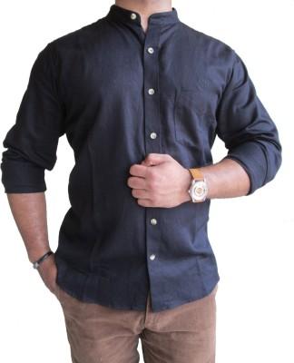SOLEN Men's Harringbone Formal Black Shirt