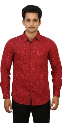 Hunter Men's Printed Casual Maroon Shirt