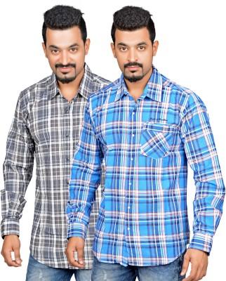True Fashion Men's Checkered Casual Multicolor Shirt